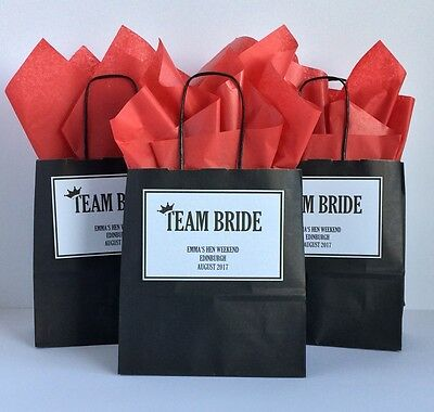 Personalised Hen Party Gift Favour Bag Paper Black Pink • 1.25£