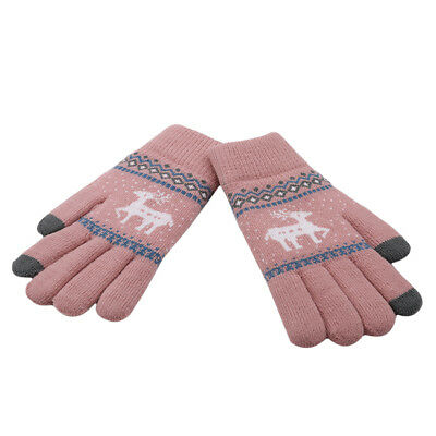 Christmas Thick Knit Gloves Winter Deer Knitted Warm Glove 8C • 3.30£