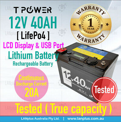 AU449 • Buy 12V 40AH LiFePO4 Lithium Battery Rechargeable Light Weight 5Kg 3-Year Warranty