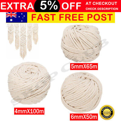 AU20.50 • Buy 4/5/6mm Macrame Rope Natural Beige Cotton Twisted Cord Artisan Hand Craft New AU
