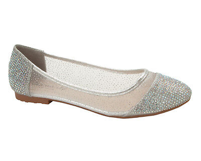 £9.99 • Buy Womens Silver Glitter Mesh Gem Wedding Party Dolly Pumps Shoes Ladies Size 3-8