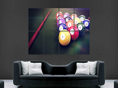 £17.99 • Buy American Pool Table Balls Cue  Sport Large  Wall Picture Poster Giant Huge Art