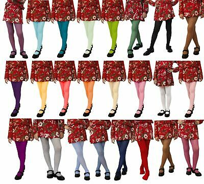 £3.19 • Buy Girls Tights Plain Opaque 60 Denier Microfibre Age 2-13 Years Various Colours