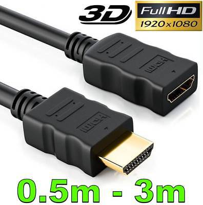 AU4.75 • Buy HDMI Extension Cable V1.4 3D High Speed HD TV Male To Female Short Lead Extender