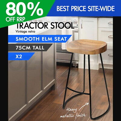 AU182.95 • Buy 2x Vintage Tractor Bar Stool Retro Barstool Industrial Dining Chairs 75cm