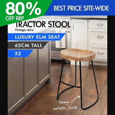 AU184.95 • Buy 2x Vintage Tractor Bar Stool Retro Barstool Industrial Dining Chair 65cm Natural