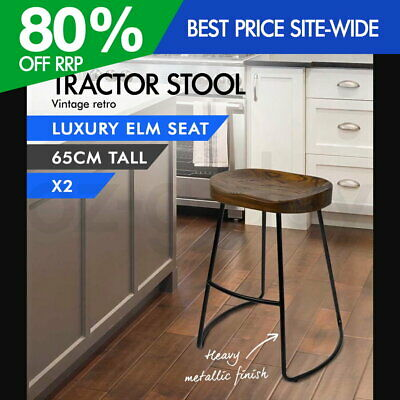 AU180.95 • Buy 2x Vintage Tractor Bar Stool Retro Barstool Industrial Dining Chairs 65cm Wood