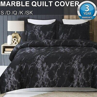 AU32.24 • Buy Black Marble Quilt Doona/Duvet/Cover Set Single Double Queen King Size Bed Set