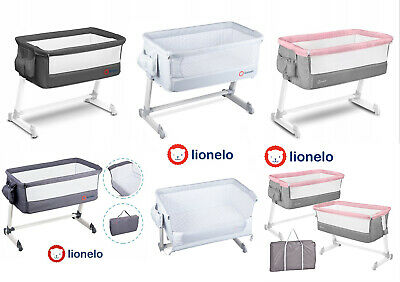 Baby Bedside Crib Portable Foldable Travel Cot Mattress Mosquitonet Theo Lionelo • 95.99£