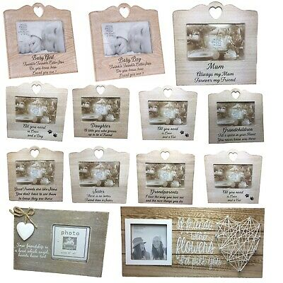 £5.62 • Buy Wooden Sentiment Frame BUY 3 GET 4th FREE Gift Mum Sister Family Friend Photo