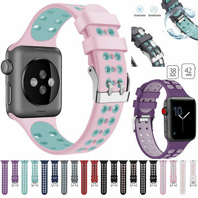 $ CDN11.54 • Buy For Apple Watch Series4 3 2 1 Silicone Sports Bands IWatch Bracelet Buckle Strap