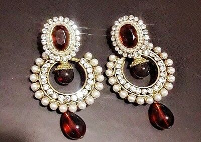 AU19.99 • Buy Latest Indian Fashion Earrings Gold Plated With Pearls For Girls/women/ladies