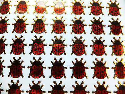 LADYBIRD STICKERS X 2 Sheets, Metallic Red *top Quality* Gold Edge, Cute Ladybug • 1.99£