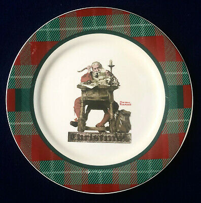 $ CDN13.08 • Buy Norman Rockwell Christmas Collector Plate  Santa Reading Mail