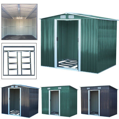 Galvanized Garden Storage Shed &Foundation Set 4/6/10FT Out House Pent Apex Roof • 298.95£