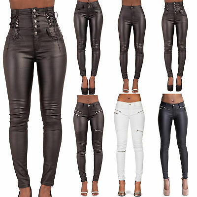 Women High Waist Leather Look Trousers Ladies Faux Leather Jeans Size 6-14 • 20£