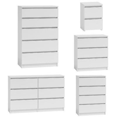 MODERN - White Chest Of Drawers Bedroom Furniture Storage Bedside 2 To 8 Draws • 64.99£