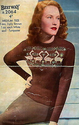 Vintage Knitting Pattern-how To Make A 1940s Swan Design Fair Isle Jumper • 2.99£