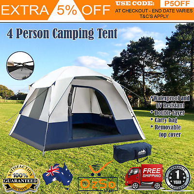 AU108.97 • Buy New 4 PERSON FAMILY CAMPING TENT Outdoor Four Man Backpacking Instant Tents