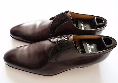 $ CDN1317.28 • Buy $2000 ARTIOLI Brown Leather Crocodile Oxford Dress Shoes 8.5 US 41.5 Euro 7.5 UK