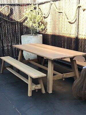 AU1590 • Buy Contemporary Hardwood Recycled  Outdoor Timber Dining Table Setting Melbourne