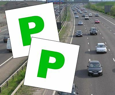 2 X MAGNETIC PASSED PASS NEW DRIVER GREEN P PLATE PLATES FOR CAR VEHICLE CHEAP • 1.99£