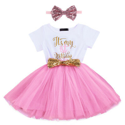 AU15.72 • Buy Baby Girl 1st 2nd Birthday Party Tutu Dress Sequin Headband Cake Smash Outfits