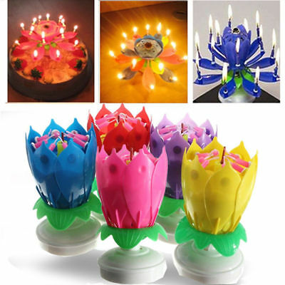 $ CDN3.27 • Buy Candle Rotating Birthday Musical Lotus Flower Cake Candles Happy Light Small