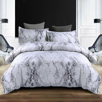 AU19.94 • Buy Grey Marble Ultra Soft Doona Duvet Quilt Cover Set All Size Bedding Pillowcase
