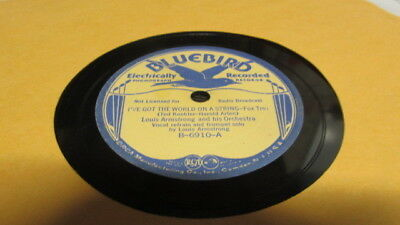 Louis Armstrong Bluebird 78 Rpm Record 6910 I've Got The World On A String • 15$