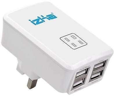 £5.99 • Buy UK Mains Wall 3 Pin Plug Adaptor Charger With 4 USB Ports For Phones Tablets CE
