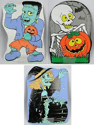 $14.99 • Buy Vintage Fun World Halloween Yard Signs Lot Frankenstein Witch Skeleton AWESOME!