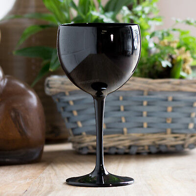 $24.13 • Buy 4 X Black Polycarbonate Plastic 40cl Reusable Gin Balloon Wine Cocktail Glasses