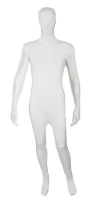 Mens Lycra Bodysuit Jumpsuit White Zentai Suit 2nd Skin Fancy Dress • 15.99£