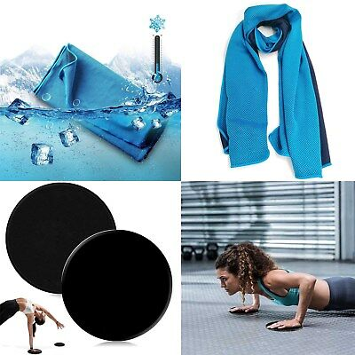 $14.24 • Buy Gym Workout Set : Gliding Discs Exercise Sliders + Extra Long Ice Cooling Towel