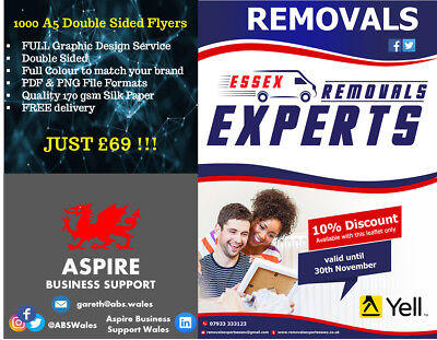£69 • Buy 1000 A5 Double Sided Full Colour Flyers/Leaflets: Fully Designed And Printed