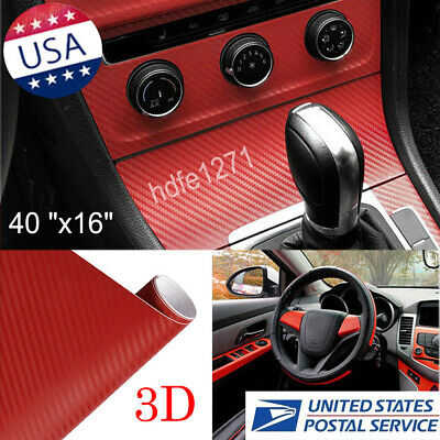 $11.99 • Buy 3D Car/tablet Red Interior Accessories Panel Carbon Fiber Vinyl Wrap Sticker 100
