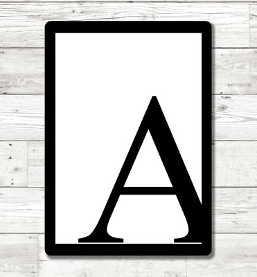 Monochrome Letter Wall Art Print Typography Personalised Home Decor Numbers • 5.99£