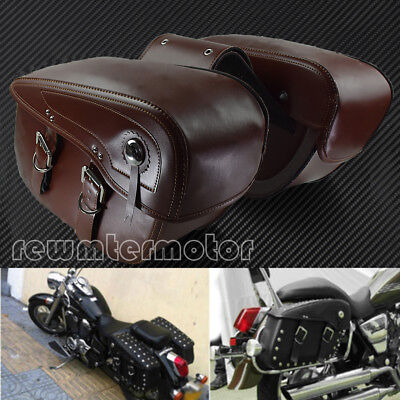 $299.99 • Buy Motorcycle Saddle Bags PU Leather Luggage Tool Bags Fit For Harley Yamaha Brown