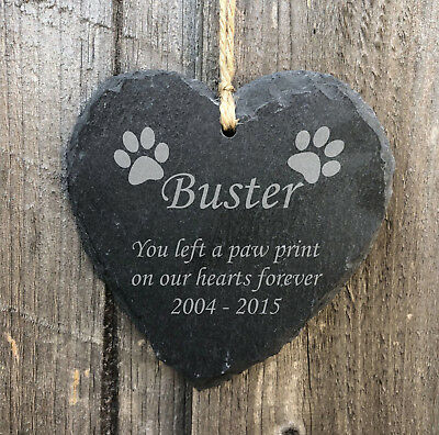 £9.99 • Buy Personalised Hanging Heart Slate Pet Memorial Plaque Grave Marker Dog Paw Print