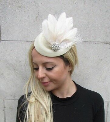 Cream Pearl Feather Pillbox Hat Hair Clip Fascinator Races Wedding Vintage 6301 • 17.95£
