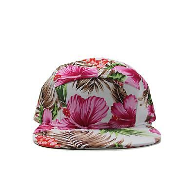 395ed8ff92892 BK Caps Pink Floral Hawaiian 5 Panel Leather Strapback Hat • 10.00