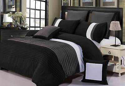 AU57.50 • Buy Aleah Black Grey White Quilt Cover Set QUEEN / SUPER KING Size Doona Cover Set