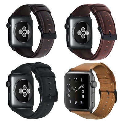 $ CDN18.39 • Buy Genuine Leather Replacement Bands Straps For Apple Watch Series 1 2 3 38mm 42mm