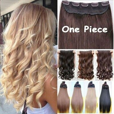 £11.20 • Buy UK Real 5% Human Long Clip In Hair Extensions One Piece Full Head Straight Wavy