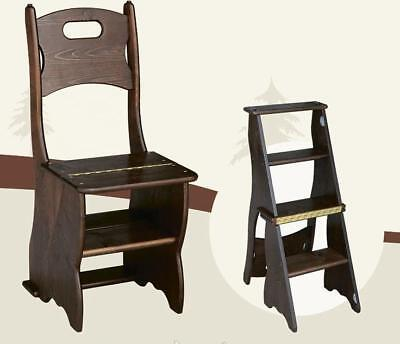 $190 • Buy Handmade Solid Wood Library Steps, Kitchen  Transformer Chair - Stepladder  .