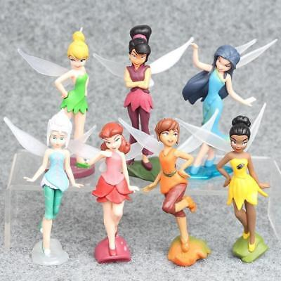 1 Set Of 7 Disney Princess Tinker Bell Fairy Family Figures Dolls Toy 9-10cm • 8.68£
