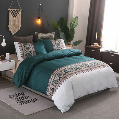 AU41.54 • Buy Teal Green Doona Duvet Quilt Cover Set Double/Queen/King Size Bedding Pillowcase
