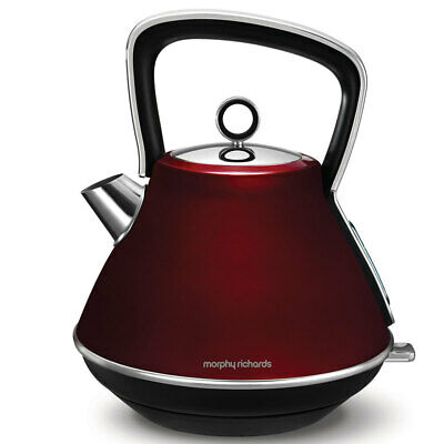 AU89 • Buy Morphy Richards 2200W Evoke 1.5L Pyramid Red Stainless Steel Electric Kettle