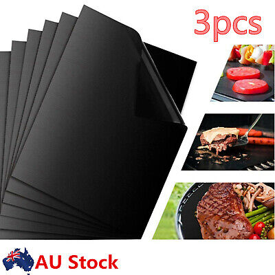 AU12.60 • Buy 3X Non-stick BBQ Grill Mat Barbecue Baking Liners Reusable Teflon Cooking Sheets